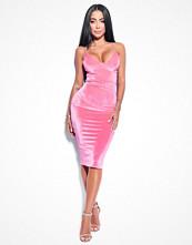 Rebecca Stella Lovestoned Velour Midi Dress rosa
