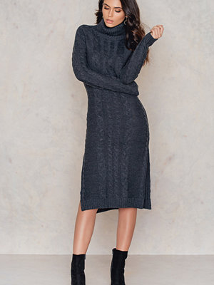 NA-KD Side Slit Braided Knitted Dress