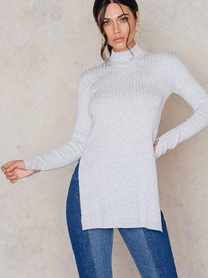 NA-KD Knitted High Slit LS Top