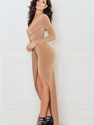 Rebecca Stella Knot Front Detailed Maxi Dress beige