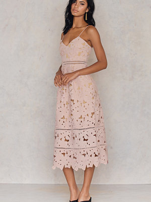 NA-KD Boho Floral Crochet Midi Dress