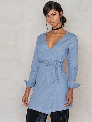 NA-KD Asymmetric Denim Wrap Dress