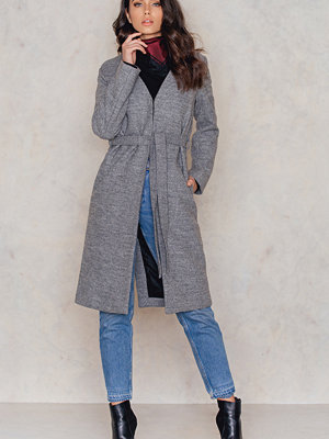 NA-KD Collarless Wool Coat