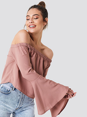 NA-KD Boho Off Shoulder Woven Wide Sleeve Top rosa