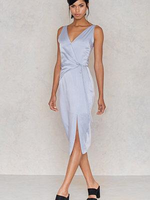 Lavish Alice Satin Wrap Tie Dress