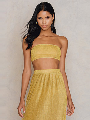 NA-KD Party Sparkle Bandeau Top guld