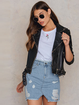 NA-KD Trend Ripped Front Slit Denim Skirt