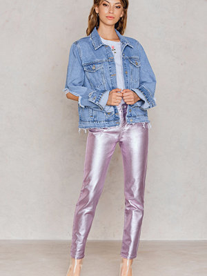 NA-KD Metallic Denim Pants