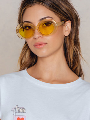 Solglasögon - NA-KD Accessories Oval Sunglasses gul