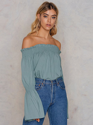 NA-KD Boho Shirred Frill Off Shoulder Top