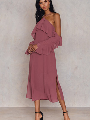 NA-KD Boho Frill A-neck Midi Dress lila