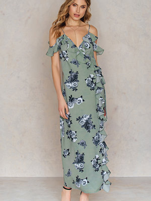 NA-KD Boho Cold Shoulder Flower Printed Long Dress