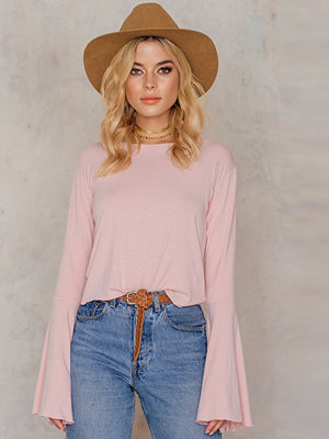 NA-KD Boho Round Neck Wide Sleeve Top rosa