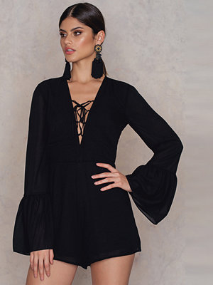 NA-KD Boho Lacing Front Wide Sleeve Playsuit