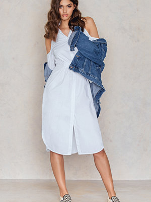 Lavish Alice Cold Shoulder Gathered Waist Shirt Dress