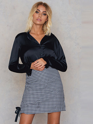 Neon Rose Gingham Ruched Side Midi Skirt