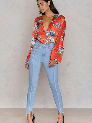 Jeans - Neon Rose Two Tone Step Hem Jeans