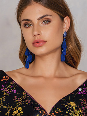 Tranloev smycke Three layered Diamond Tassel blå