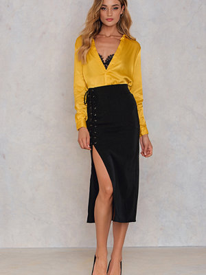 Lucca Couture Nora Lace Up Pencil Skirt