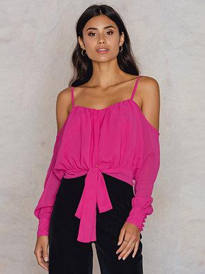 NA-KD Boho Embroidery Knot Top rosa