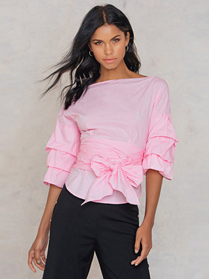 SheIn Sleeve Bow Tie Blouse rosa