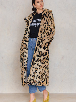 NA-KD Leo Faux Fur Coat multicolor