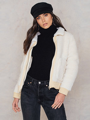 Glamorous vit bomberjacka Teddy Collar Jacket