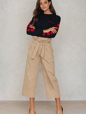 NA-KD Trend Tied Waist Wide Cotton Pants - Byxor gula