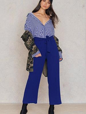 Trendyol marinblå byxor Tied Waist Wide Pants