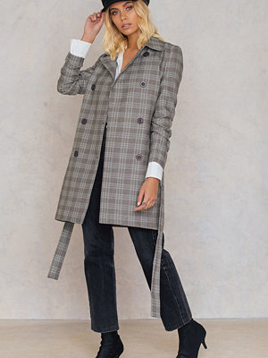 Trendyol Checked Double Button Coat grå