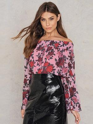 NA-KD Boho Off Shoulder Floral Print Top