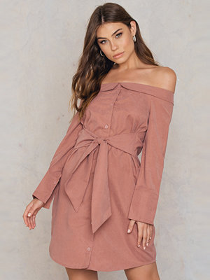 Boohoo Off Shoulder Tie Front Shirt Dress