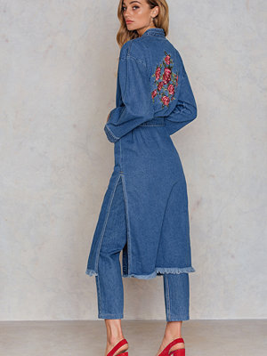 NA-KD Boho Side Slit Denim Kimono blå