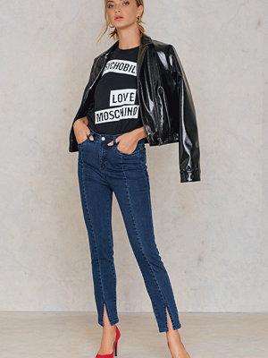 Jeans - NA-KD Highwaist Skinny Front Slit Jeans blå