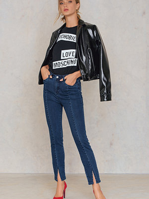 NA-KD Highwaist Skinny Front Slit Jeans blå