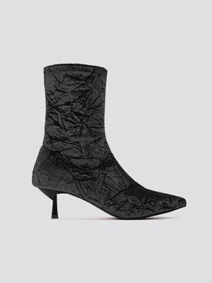 NA-KD Shoes Crushed Velvet Sock Boot svart
