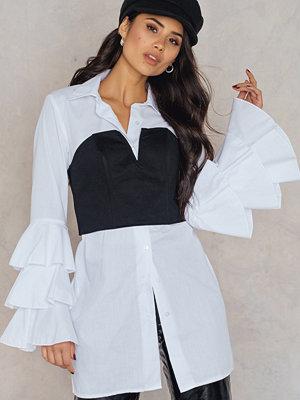 Boohoo Ruffle Sleeve Shirt Dress