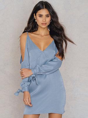 Rebecca Stella Open Shoulder Satin Dress