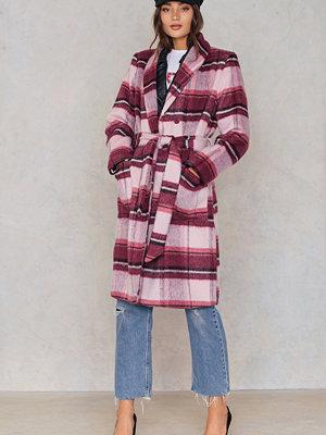 NA-KD Checked Plaid Coat rosa