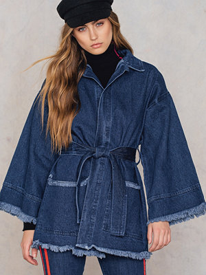 NA-KD Raw Hem Denim Kimono - Jeansjackor