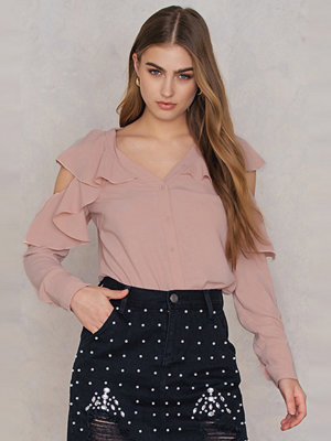 Blusar - SheIn Cut Out Shoulder Frill Blouse