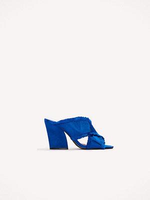 NA-KD Shoes Satin Cross Mule Heels blå