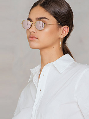 Solglasögon - NA-KD Accessories Oval Metal Sunglasses lila