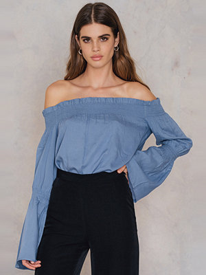 NA-KD Boho Shirred Frill Off Shoulder Top - Vardag