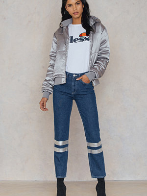 NA-KD Trend Double Silver Striped Denim