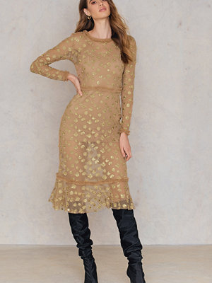 For Love & Lemons Golden Garden Tulle Midi Dress