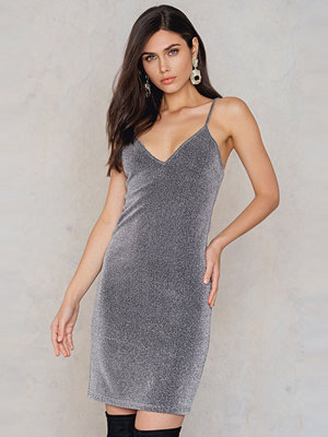 NA-KD Party Glittery Slip Dress silver