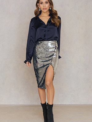 Rebecca Stella Sequin Slit Skirt