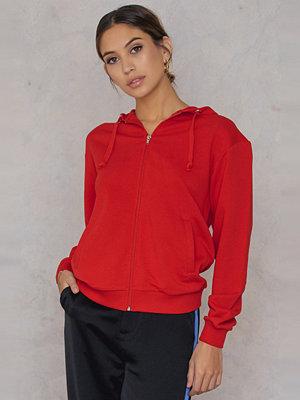 NA-KD Basic Basic Zipped Hoodie röd