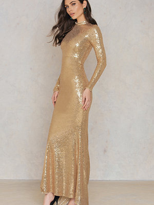 Rebecca Stella Sequin Gold Maxi Dress